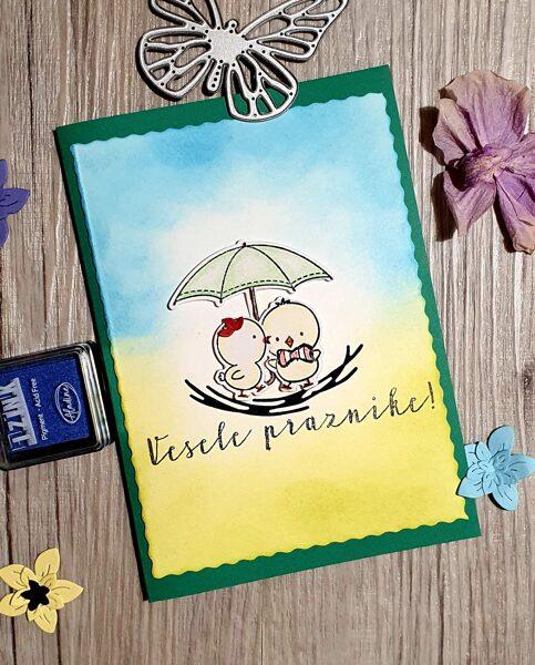 VELIKONOČNO VOŠČILO - Piščančka pod dežnikom